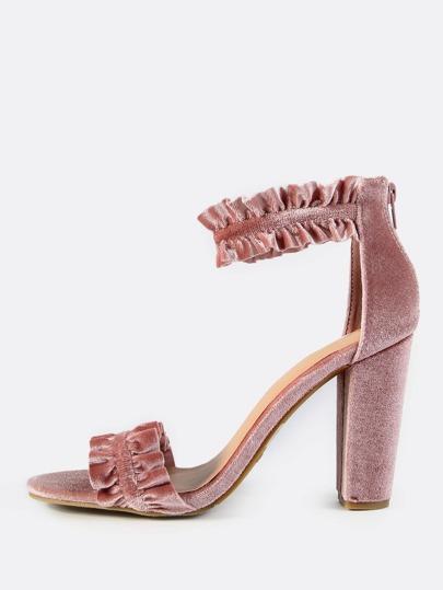 Ruffle Velvet Ankle Strap Heels BLUSH