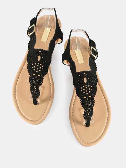 Cutout Thong Shield Sandals BLACK
