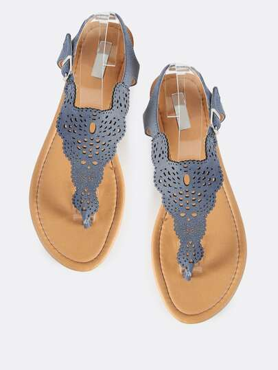 Cutout Thong Denim Shield Sandals DENIM