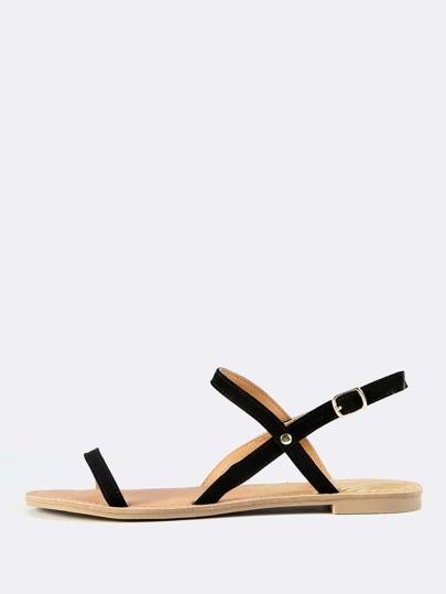 Dainty Nubuck Sandal Flats BLACK
