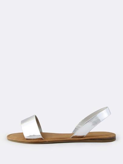 Metallic Patent Sling Back Sandals SILVER