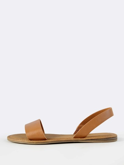 Faux Leather Sling Back Sandals TAN