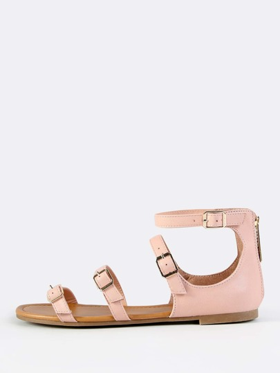 Multi Buckle Sandal Flats BLUSH