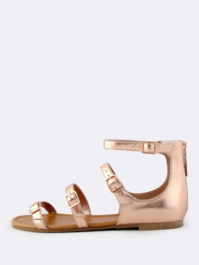 Metallic Multi Buckle Sandals ROSE GOLD