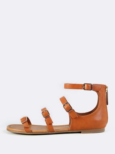 Quadruple Buckle Sandal Flats TAN