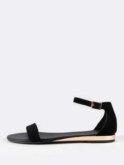 Open Toe Nubuck Sandals BLACK