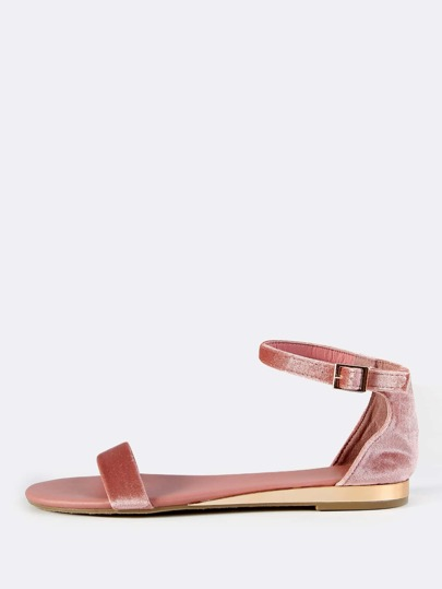 Open Toe Velvet Sandals MAUVE