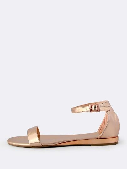 Open Toe Patent Metallic Sandals ROSE GOLD