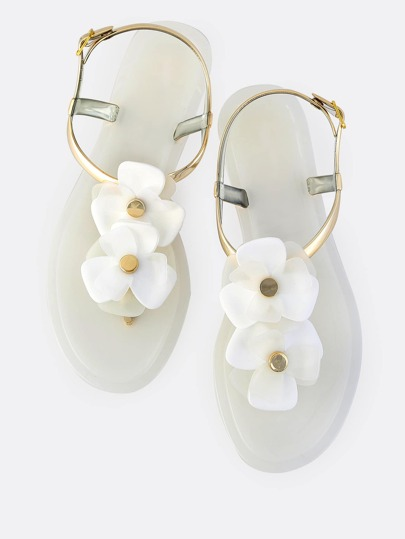 Jelly Floral Flat Sandals WHITE