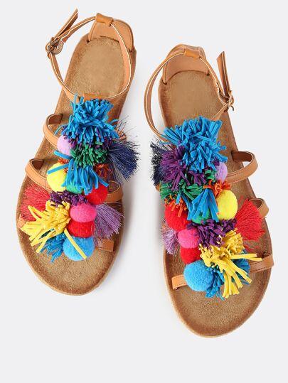 Pom Pom Tassel Flat Sandals TAN