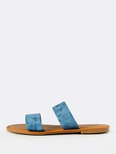 Double Band Denim Tie Dye Slides BLUE DENIM