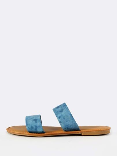 Double Band Denim Tie Dye Slides BLUE DENIM