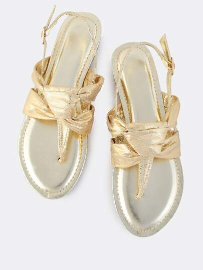 Metallic Knotted Thong Sandals GOLD