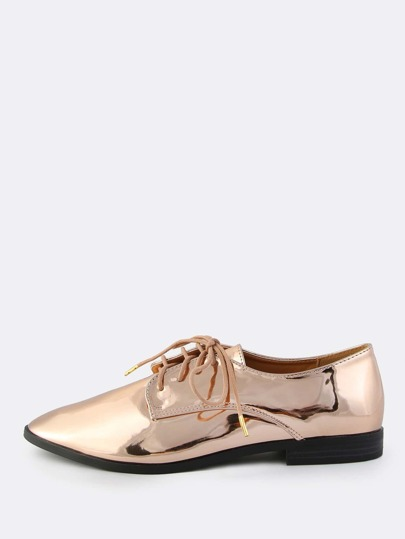 Metallic Lace Up Oxfords ROSE GOLD