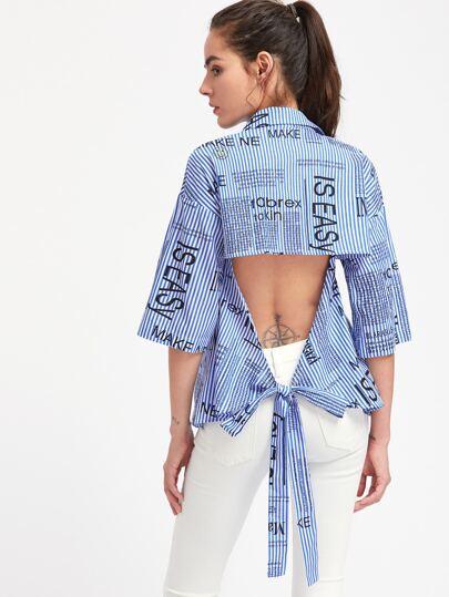 Bluse mit Band, Muster und Kimonoärmeln