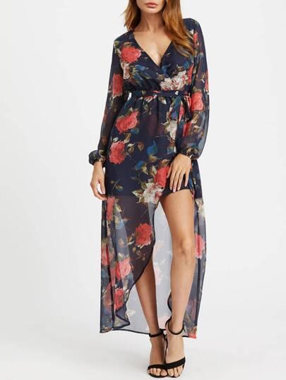 Empire Waist Lantern Sleeve Surplice Wrap Floral Dress