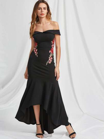 Foldover Bardot Neck Embroidered Rose Applique Fishtail Dress