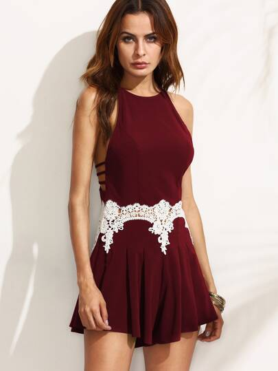 Lace Insert Strappy Racerback Pleated Wide Leg Romper