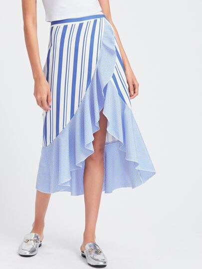 Frill Trim High Low Mixed Striped Wrap Skirt