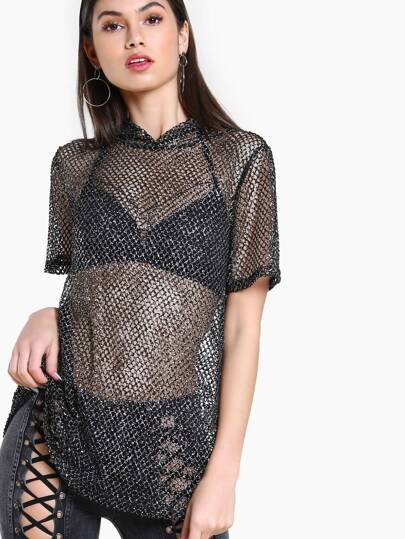 Curved Hem Hooded Glitter Fishnet Tee