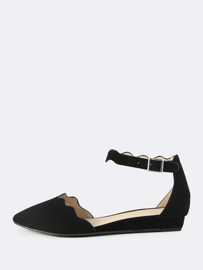 Faux Leather Squiggle Flats BLACK