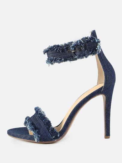 Ankle Strap Frayed Denim Heels DARK DENIM