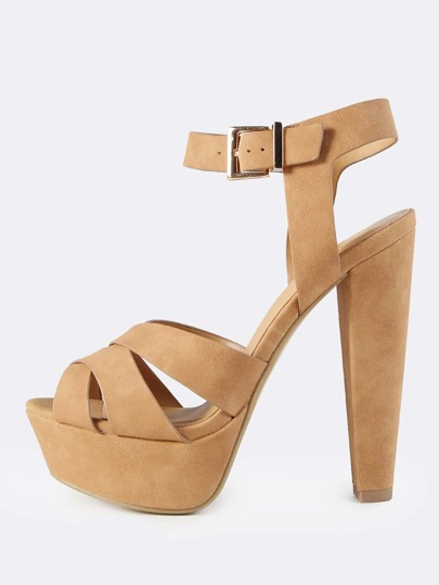 Cross Strap Platform Heels TAN