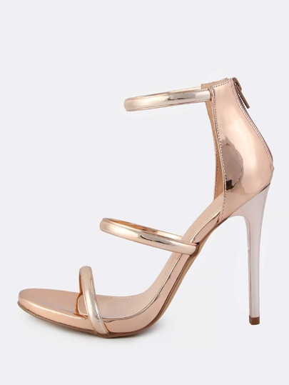 Metallic Triple Strap Heels ROSE GOLD