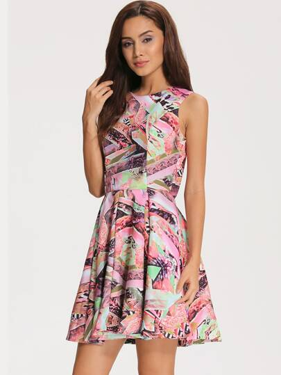 Multicolor Round Neck Sleeveless Print Pleated Dress
