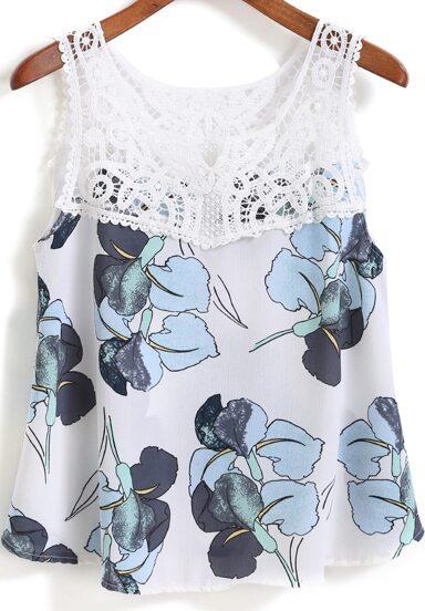 Top flores encaje crop tirante -blanco