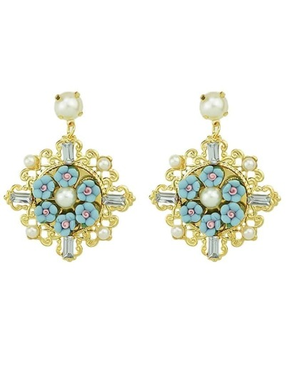 Fashionable Alloy And Gemstone Flower Shaped Beautiful Women Drop Earrings