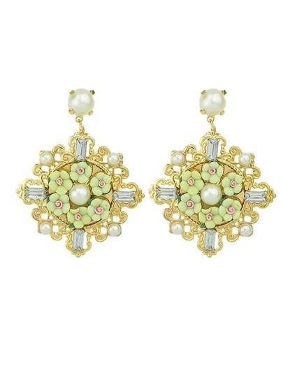 Fashionable Alloy And Gemstone Flower Shaped Beautiful Women Drop Earrings