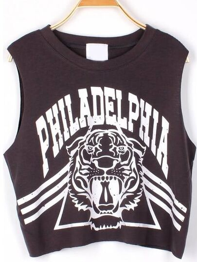 Top tirante PHILADELPHIA crop -gris