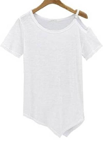 Camiseta un hombro manga corta -blanca