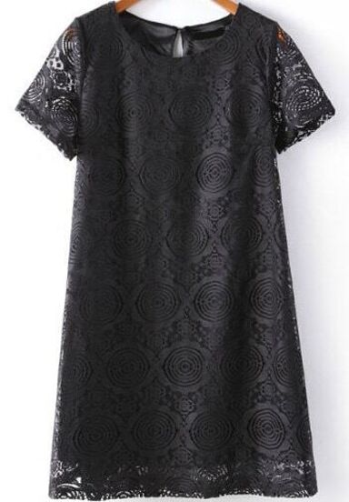 Hollow Lace Slim Black Dress