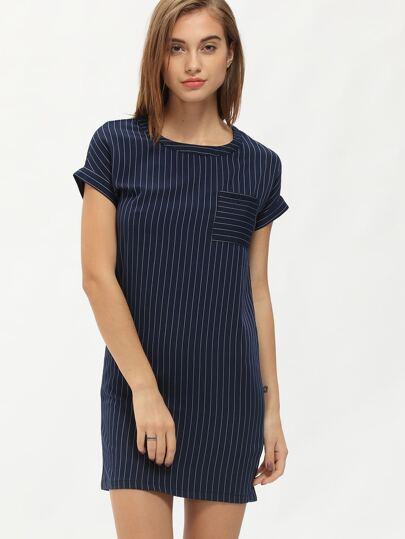 Navy Short Sleeve Vertical Stripe Bodycon Dress