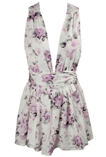Deep V Neck Open Back Floral Dress