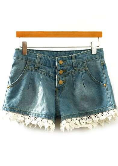 Shorts encaje combinado denim -azul
