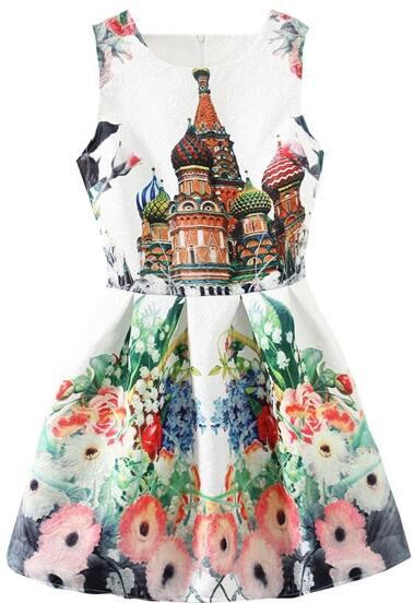 Vestito smanicato stampato castello bianco