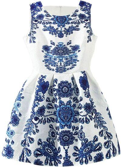 Vestido sin manga porcelana estampada -blanco y azul