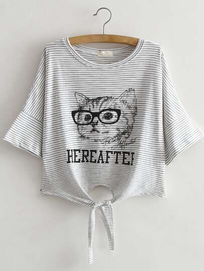 Striped Cat Print Knotted Front Crop Tee