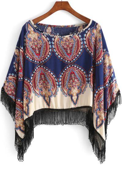 Blusa cuello redondo tribal flecos -azul
