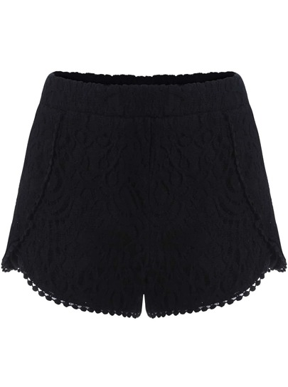 Shorts dentelle taille haute -Noir