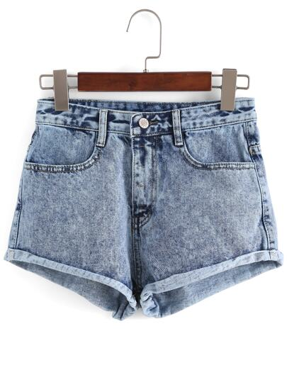 Hohe Taille Denim Shorts-blau