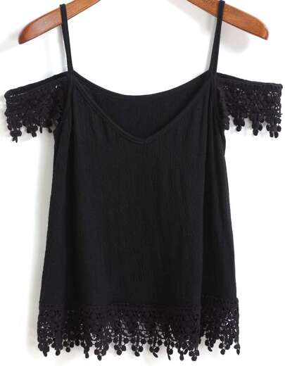 Spaghetti Strap Floral Crochet Black Cami Top