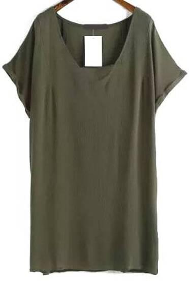 V Neck Shift Rockabilly Peasant Army Green Dress