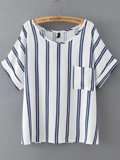 Blue Vertical Stripe Pockets Loose T-Shirt