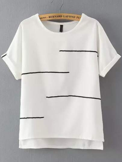 Striped Trim Dip Hem Tee