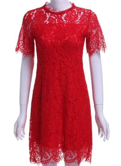 Vestido cuello redondo hollow encaje -rojo