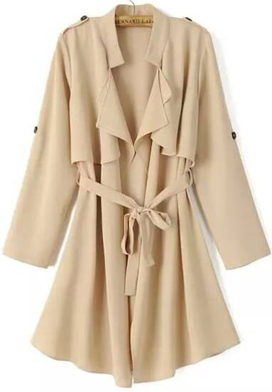 Khaki Long Sleeve Epaulet Tie-waist Trench Coat